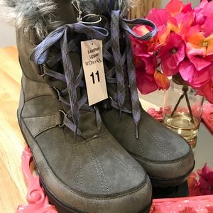 Merona Suede Winter Lace Up Boots Grey/Floria-NWT